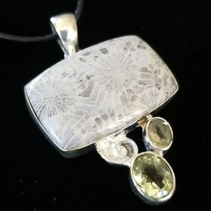 .925 Sterling Silver Fossil and Citrine Pendant